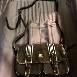 Burberry blue label stripes crossbody bag black